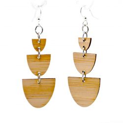 990 stacked half stone bamboo earrings