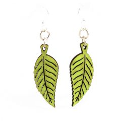 Lime Green Plant Leaf Blossom Wood Earrings