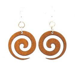 Spiral blossom wood earrings