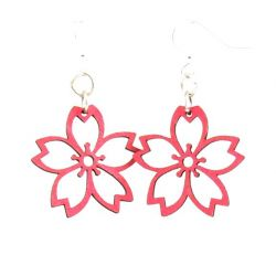 Rose Cherry Blossom Wood Earrings