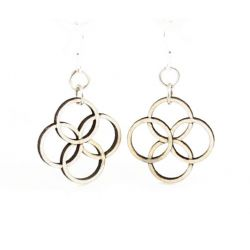 Natural wood integrated circle blossom wood earrings