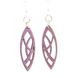 Pointed oval blossom wood earrings