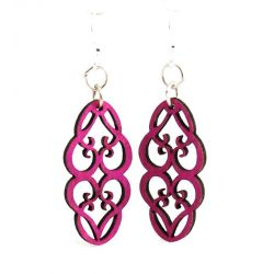 Fuschia heart in vines wood blossom earrings