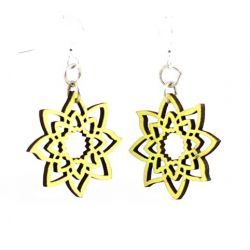 Neon Yellow blossom wood earrings