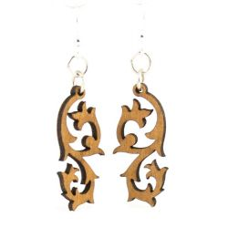 tribal blossom wood earrings