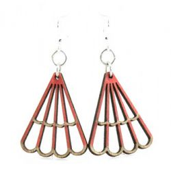 crimson triangle blossom wood earrings