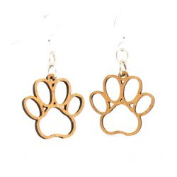 puppy paw blossom wood earrings