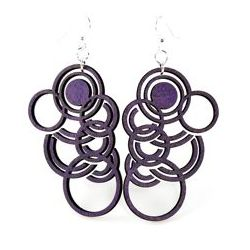 purple autumn circle wood earrings