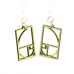 Lime golden ratio blossom wood earrings