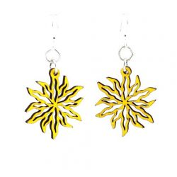 yellow wild flower blossom wood earrings