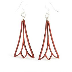 fuschia trumpet flower wood earrings