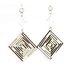 natural wood squared dangle earrings