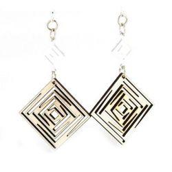 natural wood squared dangle earrings