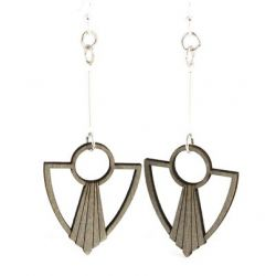 gray art deco anchor fan wood earrings