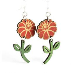 emy flower wood earrings