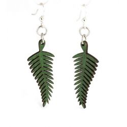 green solid fern wood earrings