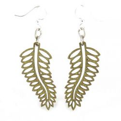 apple green open fern wood earrings