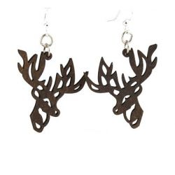 brown reindeer wood earrings