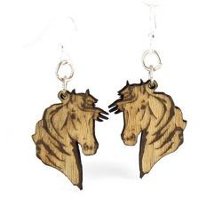 horse profile wood earrings