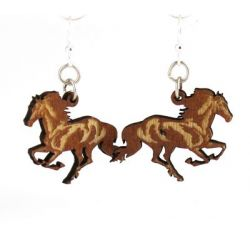 running horse wood earrings