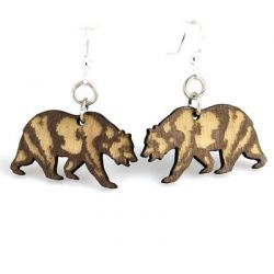 california bear wood earrings