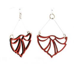 red fan flame wood earrings