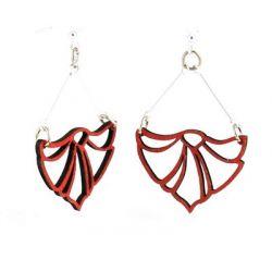 red fan flame wood earrings