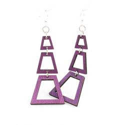 purple judiths pyramid wood earrings