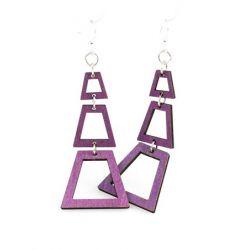 purple judiths pyramid wood earrings