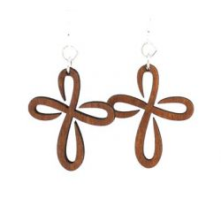 cinnamon infinity cross wood earrings
