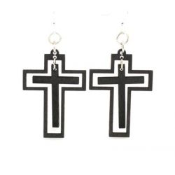 traditional cross wood earrings