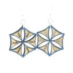aqua marine ice crystal wood earrings