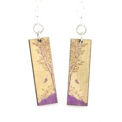 purple nature window wood earrings