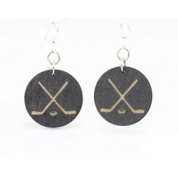 hockey puck wood earrings