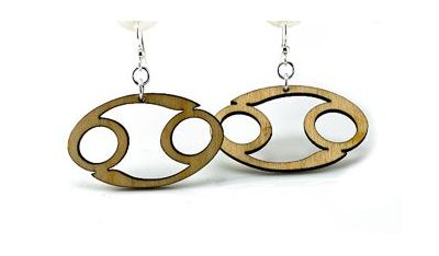 cancer wood earrings