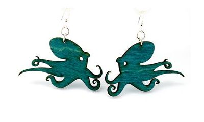 Teal Octopus Wood Earrings