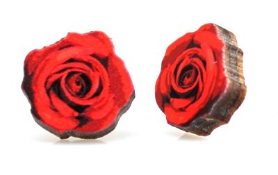 Deep red rose stud wood earrings
