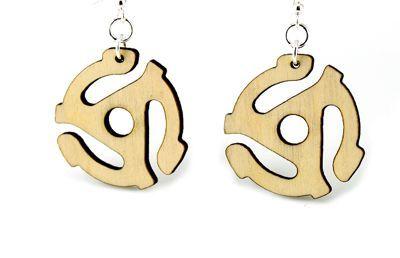 natural wood 45 adapter wood earrings