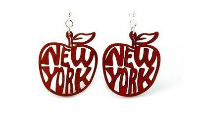 red ny apple wood earrings