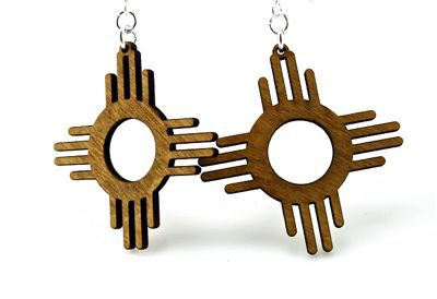 cinnamon zia sun wood earrings