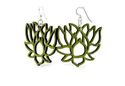 green lotus wood earrings