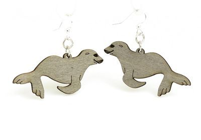 gray sea lion wood earrings