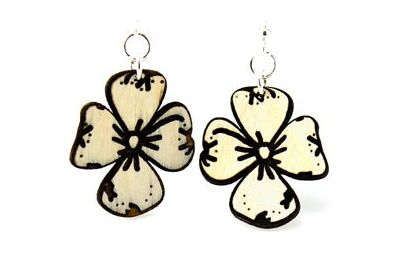 dogwood flower wood earrings