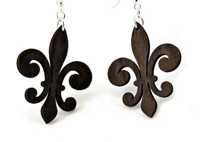 Brown regular fleur de lis earrings
