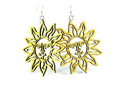 Yellow Sun wood earring
