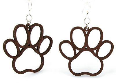 Brown Dog Paw wood earrings