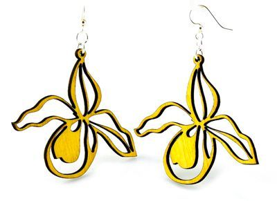 Yellow Orchid Wood Earrings