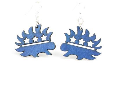libertarian porcupine wood earrings