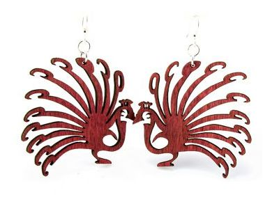 red peacock wood earring