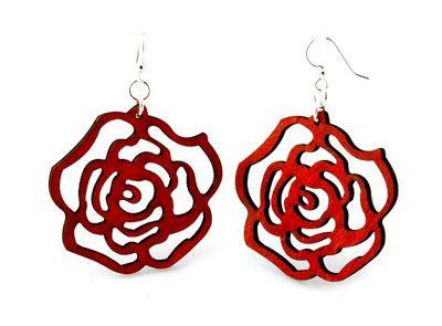 Red rose wooden earrings